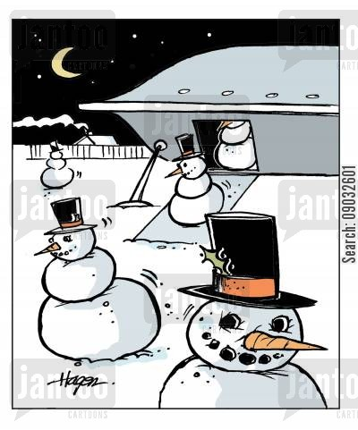 frosty the snowman cartoon humor: Aliens leaving spacecraft.