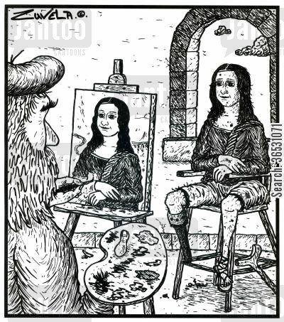 da vinci cartoon humor: Visual gag (the real Mona Lisa behind the scenes).