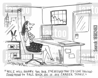 marriage proposal cartoon humor: 'Yes, I will marry you, Bob. I've decided I'd like having something to fall back on if my career tanks.'