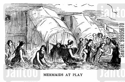 awning cartoon humor: Mermaids at Play - Bathing Machines