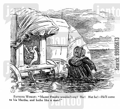 bathing machine cartoon humor: Bathing Women