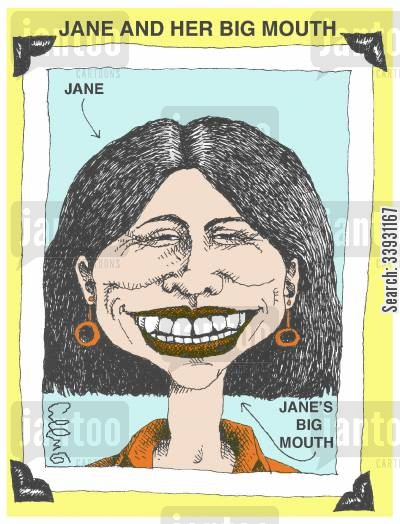 sorry cartoon humor: Jane and her big mouth.