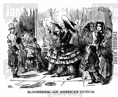 feminists cartoon humor: Bloomerism - An American Custom