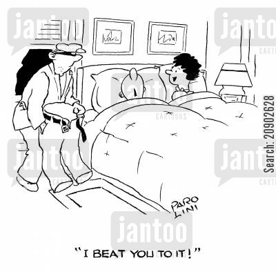 burgled cartoon humor: 'I beat you to it!'
