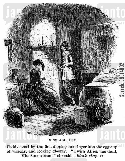 bleak house cartoon humor: Miss Jellyby