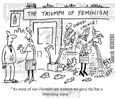 breast flashing cartoon humor: 'As most of our clientele are women we gave the bar a liberating name.'
