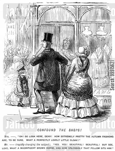 frocks cartoon humor: Husband trying to distract his wife from the shop window displays