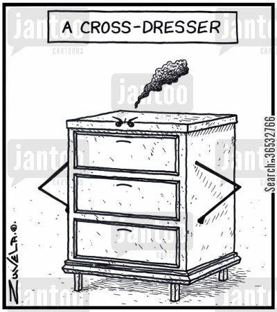 dressing cartoon humor: A Cross-dresser.