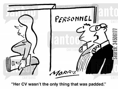 cleavage cartoon humor: 'Her CV wasn't the only thing that was padded.'