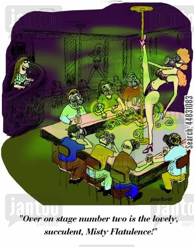nightlife cartoon humor: 'Over on stage number two is the lovely, succulent, Misty Flatulence!'
