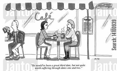 impatience cartoon humor: He wouldn't been a great third date, but not quite worth suffering through dates one and two.