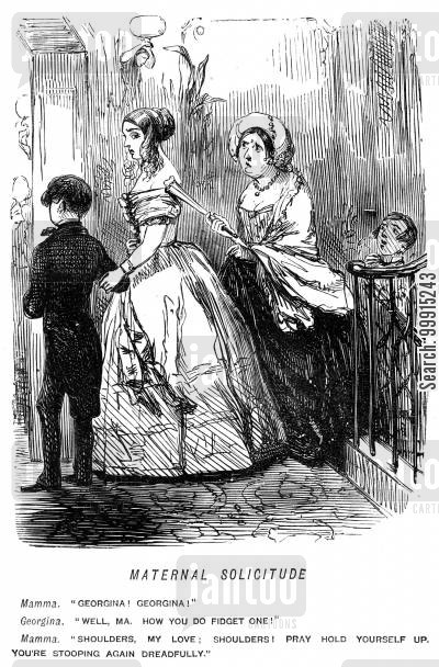 deportment cartoon humor: Mother commenting on daughter's posture