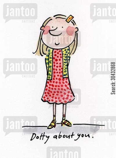 dot cartoon humor: Dotty about you.