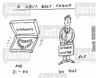 materialism cartoon humor: A girl's best friend.