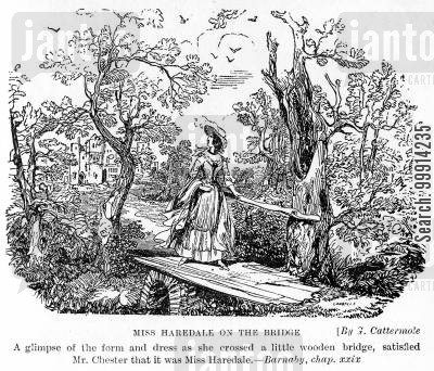 glimpse cartoon humor: Miss Haredale on the bridge