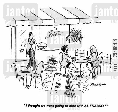 dine cartoon humor: 'I thought we were going to dine with Al Frasco!'