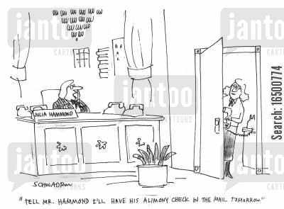 career woman cartoon humor: Tell Mr Hammond, I'll have his alimony check in the mail tomorrow.