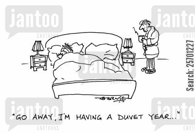 staying in bed cartoon humor: 'Go away, I'm having a duvet year...'