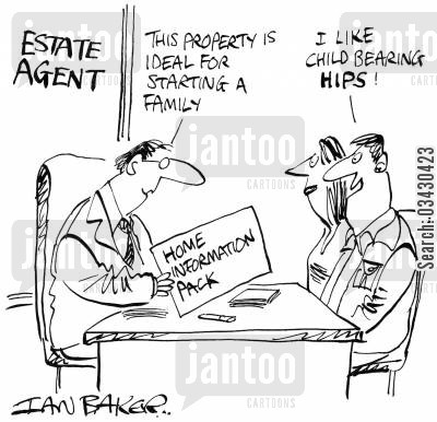 homebuyers cartoon humor: 'I like child bearing HIPS!'