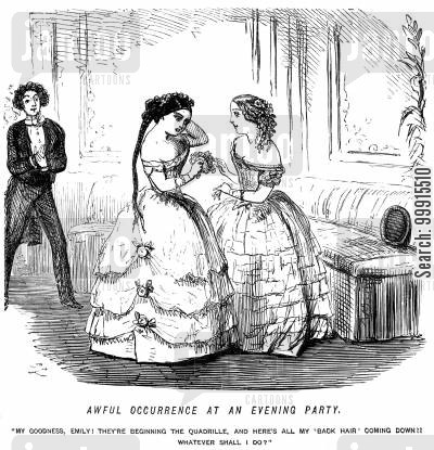 party cartoon humor: Girl's hair comes unfastened as a dance is about to begin