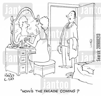 daily routine cartoon humor: 'How's the facade coming?'