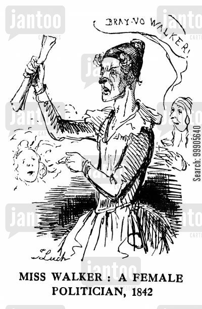 women in society cartoon humor: Miss Walker, A Female Politician, 1842