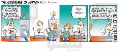 female office workers cartoon humor: The Adventures of Morton - the feminist.