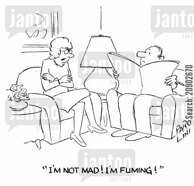 fume cartoon humor: 'I'm not mad! I'm fuming!'