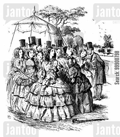 garden party cartoon humor: Victorian Women's Garden Archery Contest