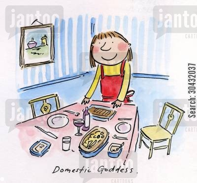 rhodes cartoon humor: Domestic Goddess.