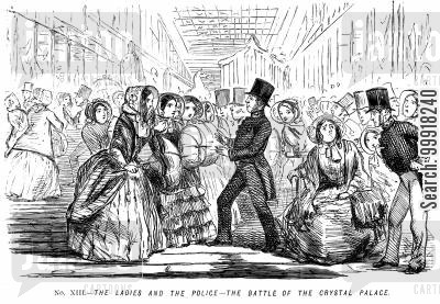 great exhibition 1851 cartoon humor: Memorials of The Great Exhibition - 1851. No. XIII. - The ladies and the police - the battle of the Crystal Palace