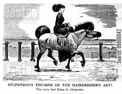 victorian fashion cartoon humor: The Fashion for Elaborate Hairstyles