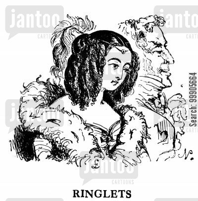 women's fashion cartoon humor: Ringlets Hairstyle
