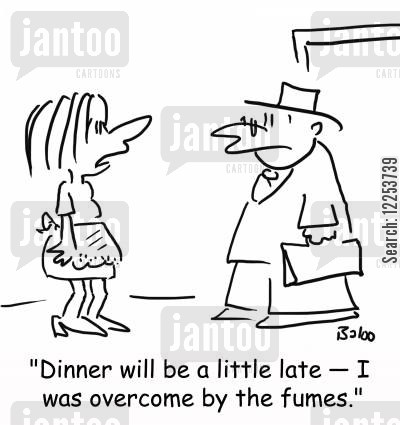 bad cooking cartoon humor: 'Dinner will be a little late -- I was overcome by the fumes.'