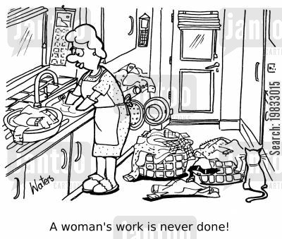 doing dishes cartoon humor: A woman's work is never done!