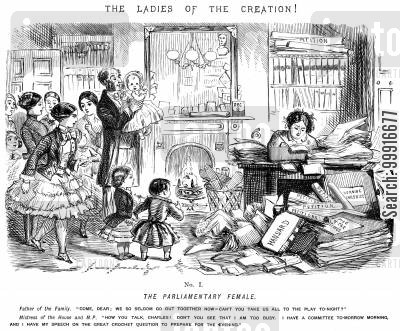 role reversal cartoon humor: Ladies of the Creation! - No. I - The Parliamentary Female