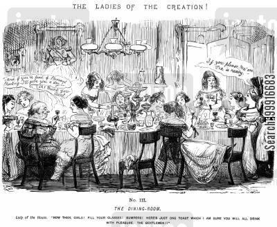 role reversal cartoon humor: Ladies of the Creation! - No. II - The Dining-room.