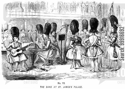 role reversal cartoon humor: Ladies of the Creation! - No. VI - The band at St. James' Palace.