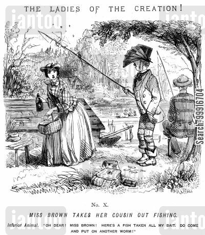 hobbies cartoon humor: Ladies of the Creation! - No. X - Miss Brown takes her cousin out fishing,