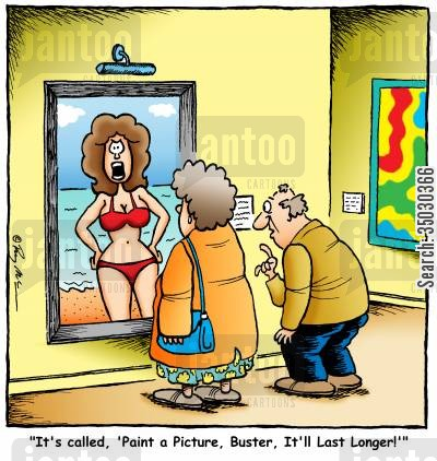 fine art cartoon humor: It's called, 'Paint a Picture, Buster, It'll Last Longer!'