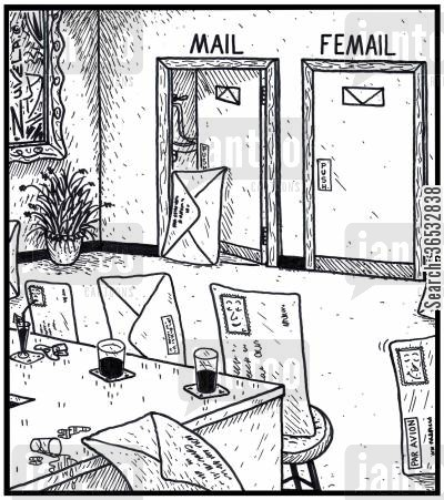 females cartoon humor: Mail and Femail restrooms for envelopes.