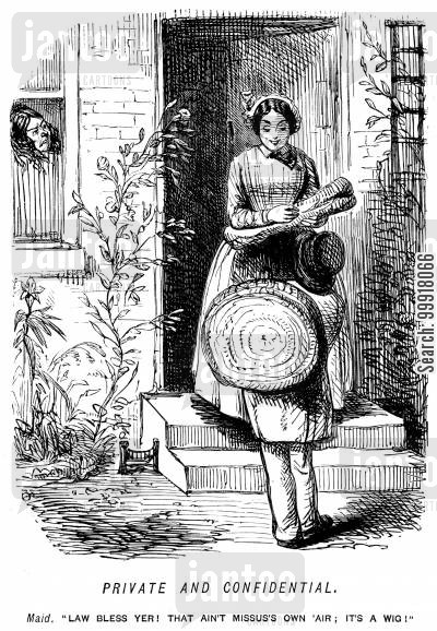 doorsteps cartoon humor: Maid revealing that her mistress wears a wig