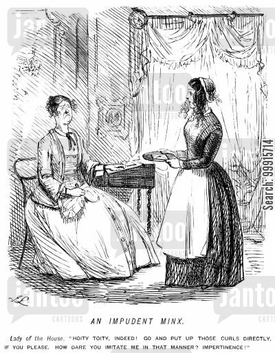 curly cartoon humor: Old mistress accuses young servant girl of imitating her curled hair