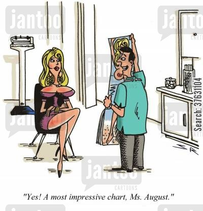 publication cartoon humor: 'Yes A most impressive chart, Ms, August,'