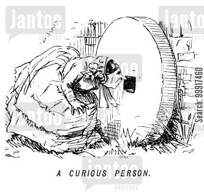 inquisitive cartoon humor: A curious person.