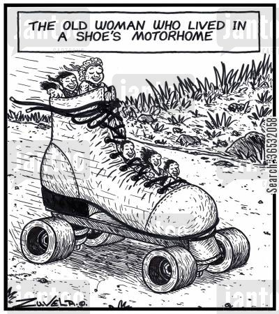 old woman who lived in a shoe cartoon humor: The old woman who lived in a shoe's Motorhome.