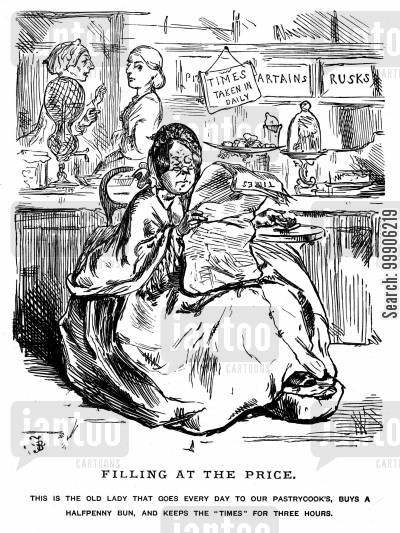 elderly women cartoon humor: An unpopular woman in a bakery shop.