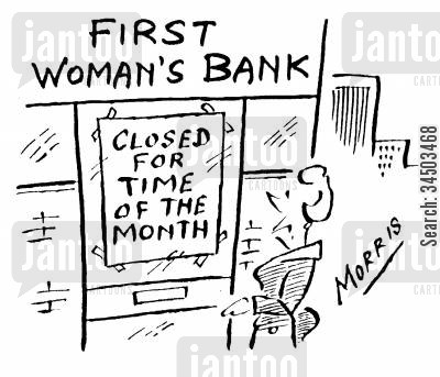 menustration cartoon humor: First Woman's Bank