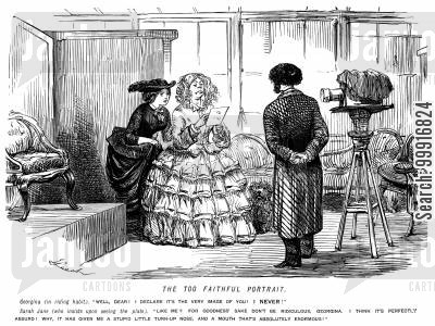 cameras cartoon humor: Woman who is disappointed with her appearance in a photograph