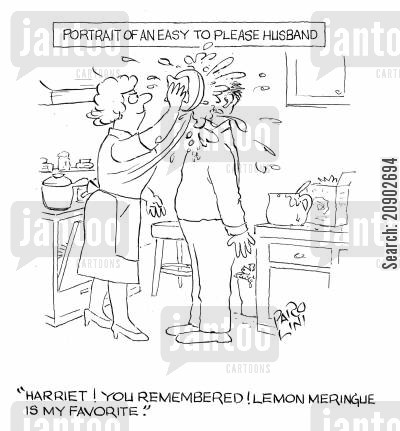lemon meringue pie cartoon humor: Portrait of an easy-to-please husband.